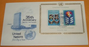 35th Anniversary United Nations, San Francisco, First Day Cover