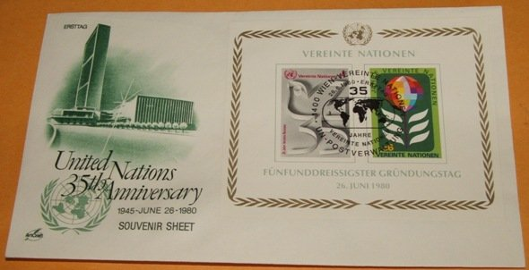 Foreign United Nations 35 Anniversary Souvenir Sheet First Day Cover