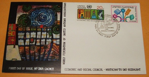 First Day Cover of the WFUNA Cachet, United Nations. FDC