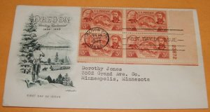 Oregon Territory Centennial First Day Cover 1948 FDC (Block of 4)