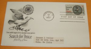 Lions Club 50th Anniversary, Search for Peace, First Day Cover (FDC)