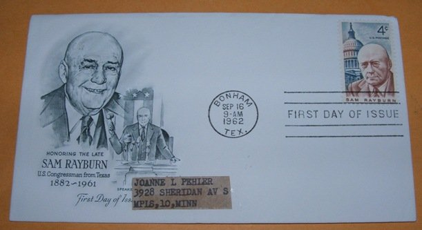 Sam Rayburn US Congress Man from Texas First Day Cover (FDC)