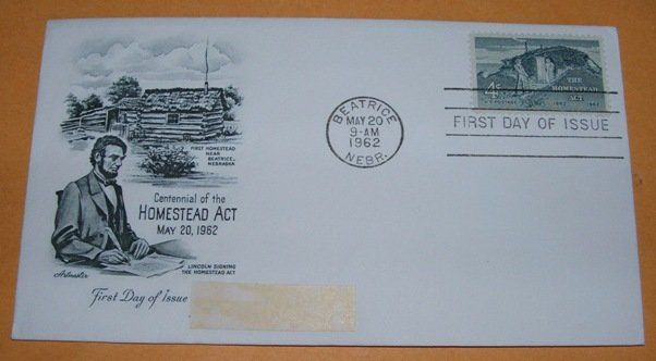 Centennial of the Homestead Act, Lincoln Cache, First Day Cover (FDC)