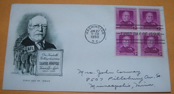 100th Birthday Anniversary of Samuel Compers, Famous Labor Leader AFL Union First Day Cover (FDC)