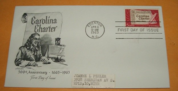 Carolina Charter 300th Anniversary First Day Cover (FDC)