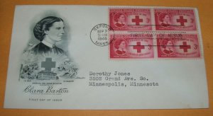 Clara Barton Founder of the American Red Cross First Day Cover, 1948 (FDC)