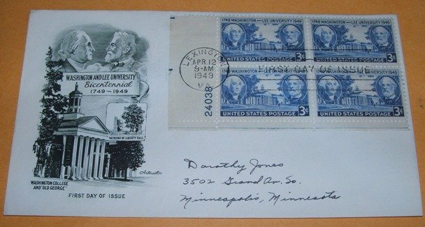 Washington and Lee University Bicentennial First Day Cover 1949 (FDC)