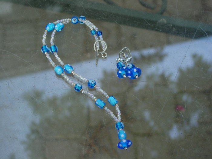 Whimsical blue and white necklace