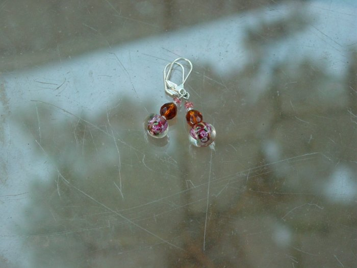 Handcrafted pink and brown earrings