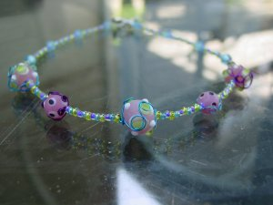 Funky handcrafted glass beaded necklace!