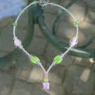 Incredible pink and green Y-necklace