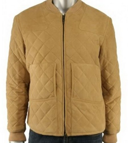 Men Quilted Tan Leather Jacket