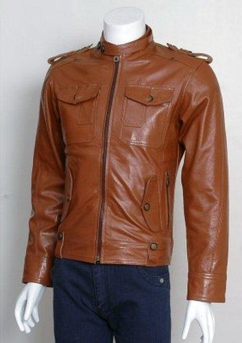 Men Vinatge Flap Biker Leather Jacket