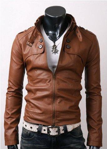 Men Button Pocket Leather Jacket Brown