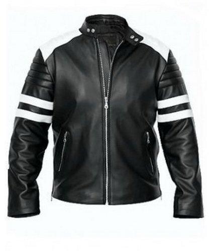 Men Fight Club Brad Pitt Black & White Leather Jacket
