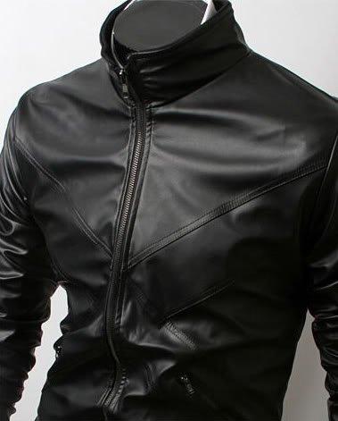 Men Cross Front Biker Jacket
