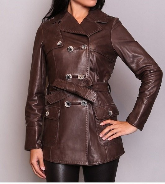 handmade women brown belted leather jacket