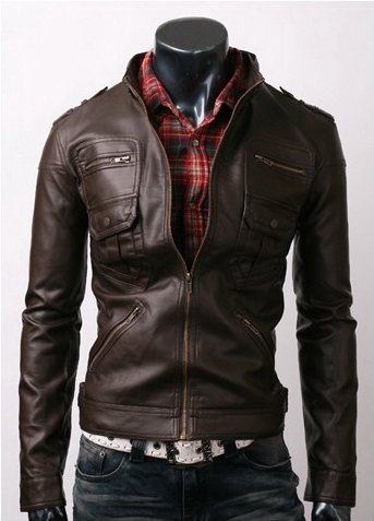 Zip Pocket Dark Brown Leather Jacket