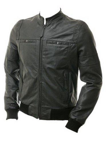 Flight Bomber Black Leather Jcaket