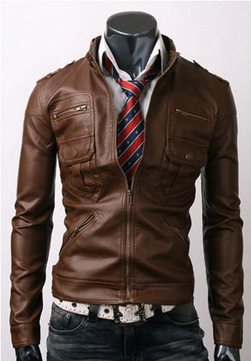 Men Zip Pocket Light Brown Leather Jacket