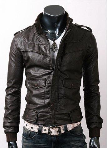 Men Slim Black Leather Jacket