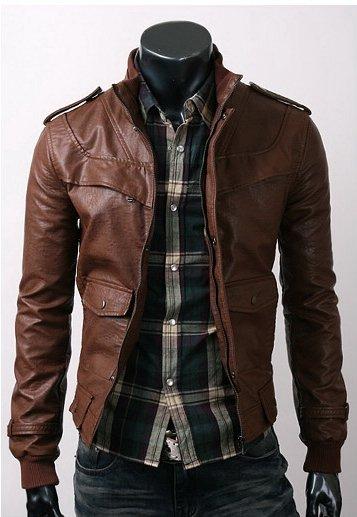 Slim Dark Brown Leather Jacket