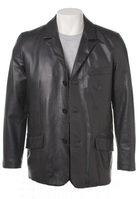 Men Classic Three Button Leather Blazer