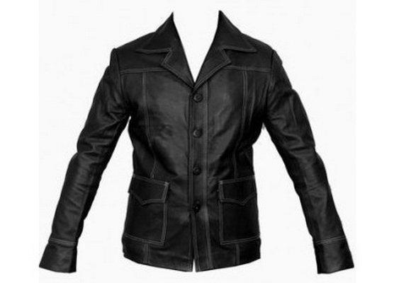 Men Fight Club Brad Pitt Black Leather Jacket