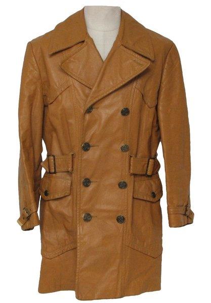 Men's Antique Below Knee Leather Coat