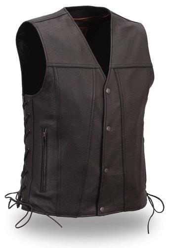 Men Snap Front Leather Vest