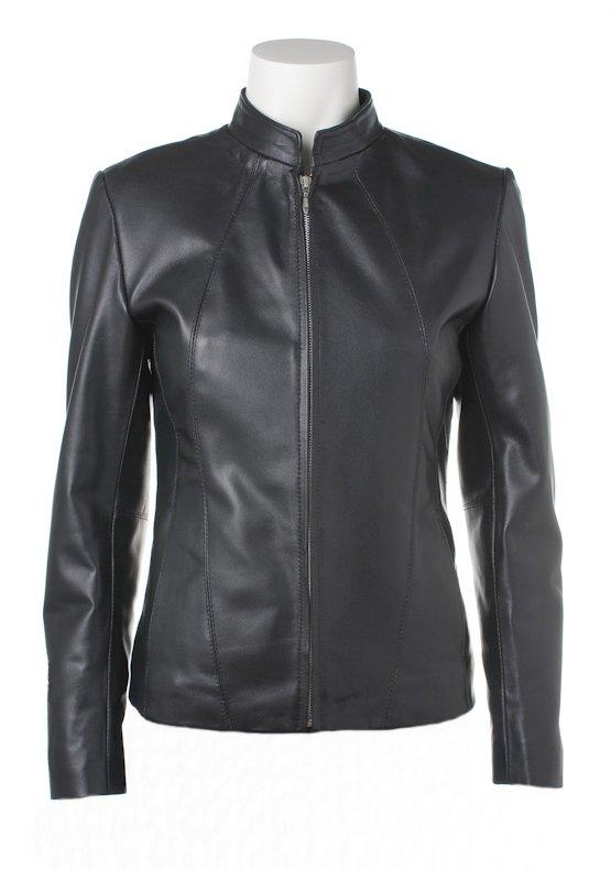 Women Classic Zipper Front Leather Jacket