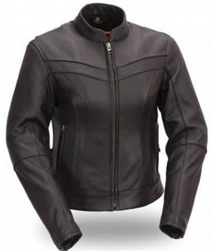 Womens Biker V Leather Jacket