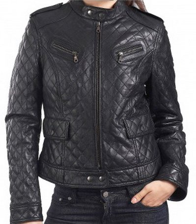 Womens Quilted Biker Leather Jacket