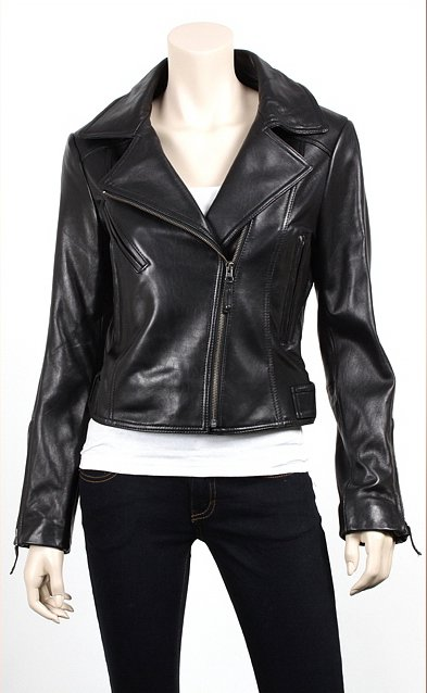 Women Classic Biker Leather Jacket