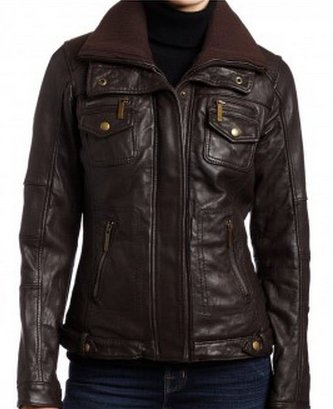 Women Double Collar Brown Bomber Leather Jacket