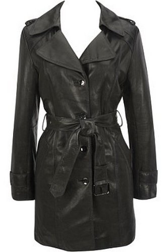 Womens Button Front Belted Leather Coat