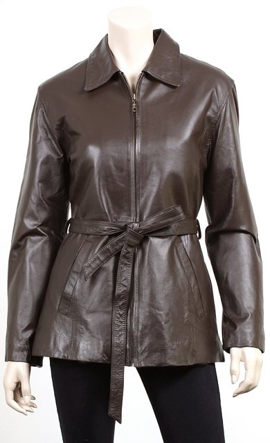 Women Belted Zipper Front Leather Jacket
