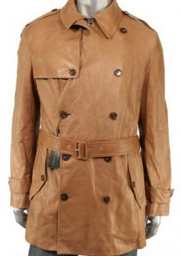 Belted Brown Long Leather Coat