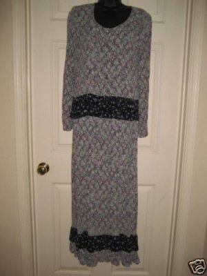 2 Pc Zoe Vintage Style Ruffled Jacket & Long Skirt XS