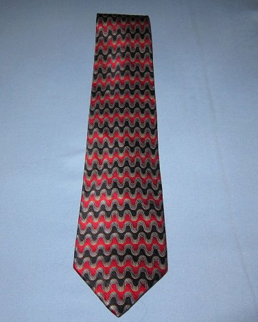 "Stanley Blacker Tie 100% Silk Neck Red Charcoal Black 4"" wide Free Shipping New"