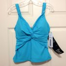 New Miraclesuit Tankini Top 12 14 Surf Blue Tags Swimsuit NWT soft cup solid