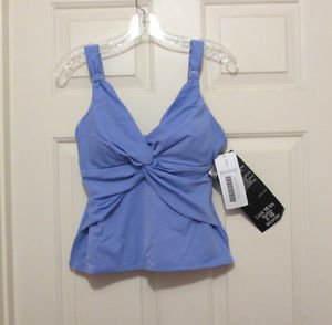 NWT Miraclesuit Tankini Top 12 14 New Tags Swimsuit Periwinkle Soft Cup Solid