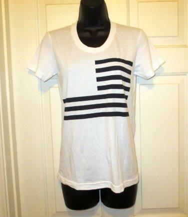 New William Rast S White Short Sleeve Flag Graphic T-Shirt