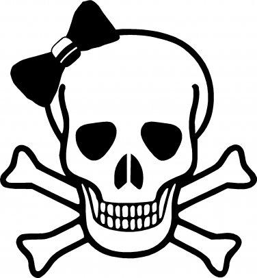 skull with bowtie vinyl decal sticker