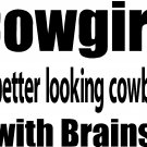 COWGIRL BETTER LOOKING THAN COWBOY RODEO BARREL RACING 4X4 VINYL DECAL STICKER