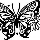 """BUTTERFLY IN FLOWERS VINYL DECAL STICKER 7"""" WIDE"""