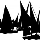 "sailboats sailing vinyl decal sticker 9"" wide"