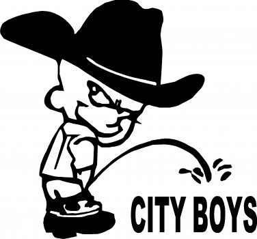 "COUNTRY BOY PEE ON CITY BOYS 10+"" wide! VINYL DECAL STICKER"