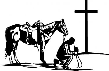 "cowboy praying at cross with horse vinyl decal sticker 7.5"" wide!!"