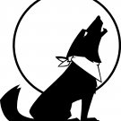 HOWLING DOG UNDER THE MOON DIE CUT VINYL DECAL STICKER